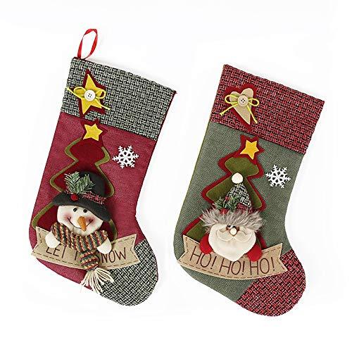 Unbekannt 2 Stück Weihnachtsstrümpfe, Tasche, Weihnachts Dekor, Xmas Baum Hängendes Ornament, 3D-Plüsch Personalisierte Bestickte Socken Dekoration -