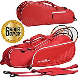Athletico 6 Raqueta de Tenis Bolsa | Acolchado para Proteger Raquetas y Ligeros, Profesional o Principiante Jugadores de Tenis | diseño Unisex para Hombres, Mujeres, jóvenes y Adultos, Rojo