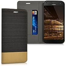 kwmobile Funda Flip Case para Huawei Ascend G7 - Funda protectora Bookstyle de polipiel y tela en antracita marrón