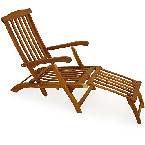 Garden Lounger Sun Lounger Wooden Outdoor Recliner Queen Mary Longchair Acacia Deck Chair Sunbed