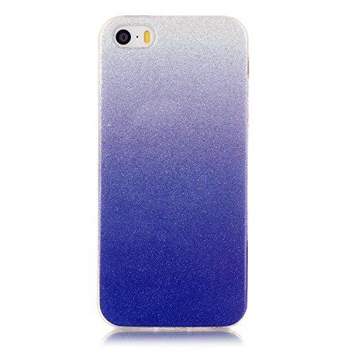 iPhone SE Hülle Weiches Silikon Glitzer Schutzhülle Tasche Case,iPhone 5S Hochwertig Leicht Gummi Schutz Hoch Handyhüllen Schale Etui,Herzzer Modisch Luxus Silikon Bunt Hülle [Farbverlauf Gradient Far Dunkelblau