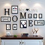 MUZIDP Kreativ Wohnzimmer Fotowand, Massivholz Multi-Bild Foto-Frame-Kombination,Home Office Foto-Rahmen-Wand-Set-A