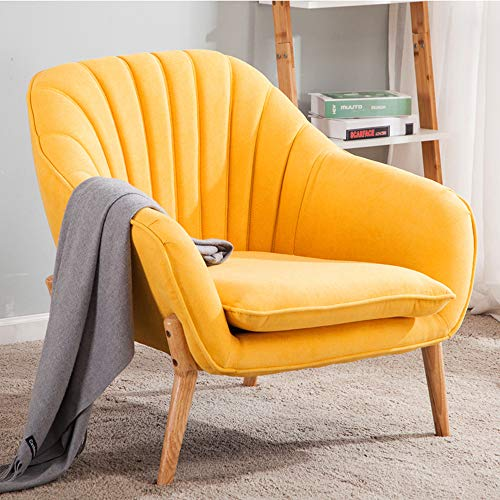 Wamiehomy Modern Suede Fabric Armchair Tub Occasional Chair with Solid Wood Legs for Living Room Bedroom Reception…