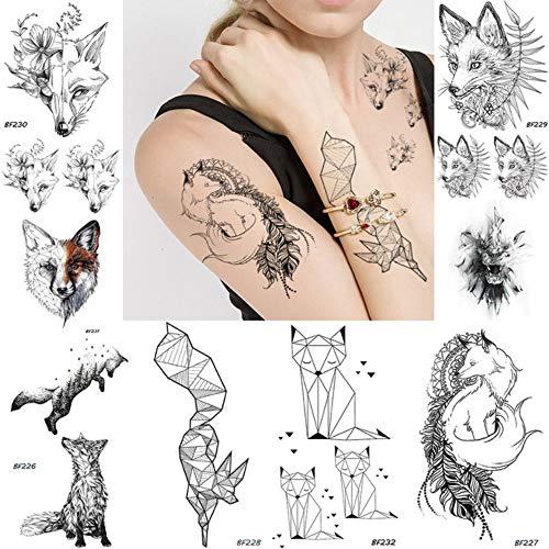 anzihuanxi DIY Geometrische Tiere Fox Pflanze Temporäre Tätowierung Frauen Sexy wasserdichte Einweg Schwarz Tatoos Body Art Malerei Tattoo Aufkleber 10,5X6 cm