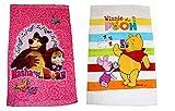 Diesney - 2er Pack - Set - Tolle Gechenkidee für - Kinder -Handtuch/Gesichtstuch/Gästetuch - 40 x 60 cm - 100% Baumwolle -2 er Set: 1 x Mascha und der Bär und 1 x Winnie The Pooh