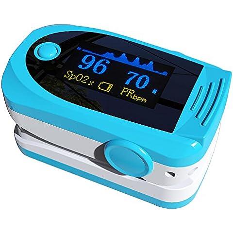 Carejoy™ nuevo Color OLED de dedo con forma de pulso de dedo oxímetro de mano con bola y portátil cristal mineral diseño de manchas de sangre de bombona de oxígeno y Sensor de pulso de dedo de protección y medidor de Spo2 de la yema del dedo electrónico de con sistema de Audio de la alarma de pulso de dedo - caja de herramientas de sonido para el hogar y el - Profesional de medición de tensión con enganche rápido - lecturas precisas de la de el dedo para de equitación para adulto, de los niños, perfecto para dar un