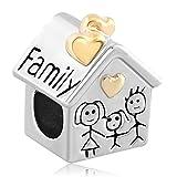 Pandora Charms Similar Style Breloque Cœur Amour Maison Famille Maman Père Enfant Pour bracelets à breloques Pandora