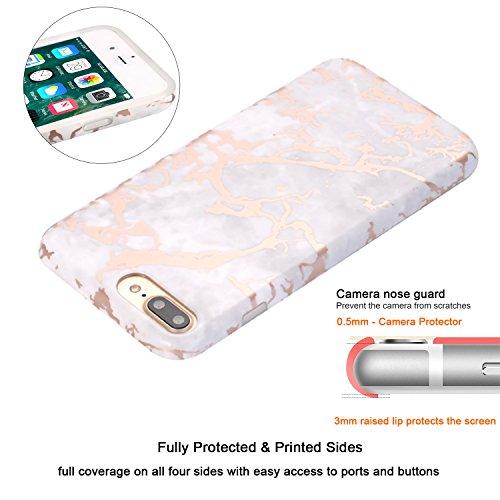 Coque iPhone 7, Coque iPhone 8, JIAXIUFEN Silicone TPU Étui Housse Souple Antichoc Protecteur Cover Case - Noir Or Marbre Désign Shiny Rose Gold S Design Gray