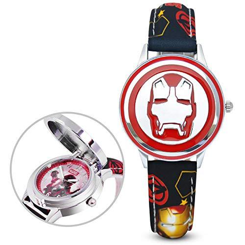 ALOIW Kinderuhr Jungen Und Mädchen Captain America/Iron Man Marvel Avengers Farbe Uhr Und Lederarmband E -