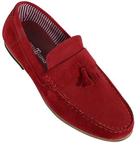 Hommes Mocassins Cuir Suédé Look Mocassins À Enfiler Chaussures Bateau By Gio Gino Rouge - 1060