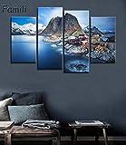 handaxian 4 pz Norvegia Montagne Mare Città balneare Isole lofoten Bellissimo Soggiorno Home Art Decor Legno Tessuto Poster-M