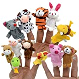 12 Stück Baby Fingerpuppen Set Tierfiguren Finger Tiere Plüschfigur für