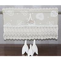 Cortina visillo Bistro cortina rústico Shabby Chic Vintage para ventana 45cm. 60cm. 80cm. 100cm o Después métrica, algodón, champán, 60 x 28 cm