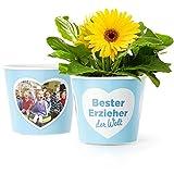 Bester Erzieher Geschenk - Blumentopf (ø16cm) für den besten Erzieher der Welt mit Bilderrahmen für zwei Fotos (10x15cm) | Zum Kindergarten Abschied, Geburtstag oder Weihnachten