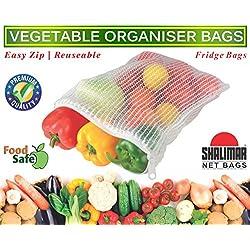 Shalimar Vegetable Organiser Reusable Fridge Bags / Net Bags,( Pack Of 6 Bags )
