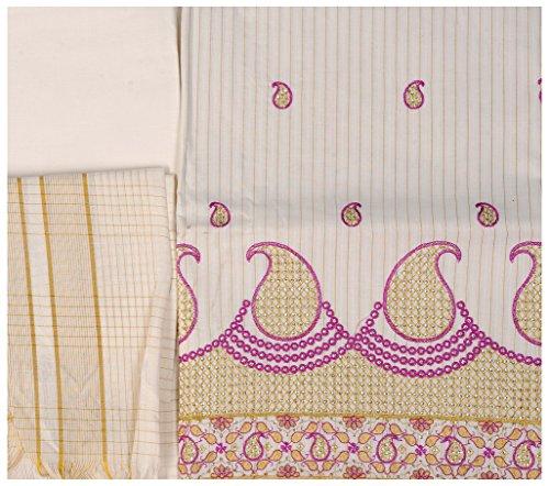 Exotic India Kasavu Salwar Kameez Fabric from Kerala with Embroidered Paisleys -...