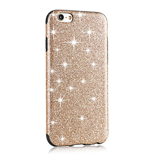 TENDLIN Coque iPhone 6s Bling Glitter et Flexible TPU Silicone Hybride Souple Housse Etui pour iPhone 6 et iPhone 6s, Or Or