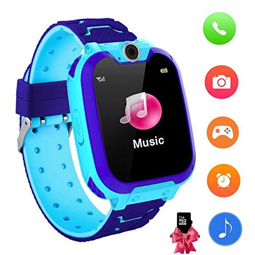 KinderSpiel Smartwatch Uhr-Spiel Kamera Smart Watch Touchscreen Elektronische Lernspielzeug Digitale Armbanduhr für Jungen und Mädchen (Blue)