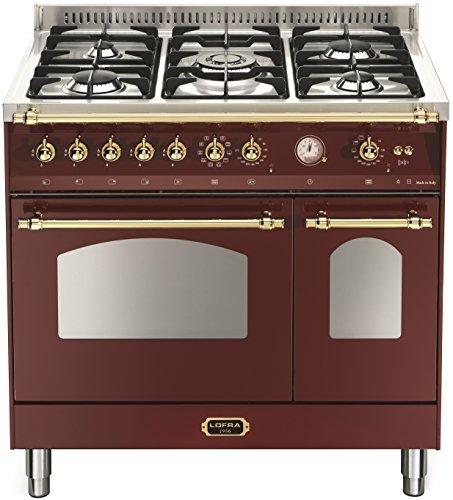 Lofra RRD96MFTE/CI Küche, freistehend, Bordeaux, Edelstahl, drehbar, mit Gaskochfeld, mittelgroß