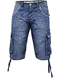 Hommes Crosshatch Wing 16 Revers Jeans Short Longueur Genou