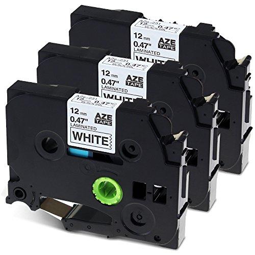 3x Kompatibel Schriftband für Brother Original P-touch TZe- 231 Etikettenbandkassette Schwarz auf Weiß 12mm x 8m für 1000 W 1010 1090 1830 VP 2030 VP 2100 VP 2430PC 2470 2730 VP