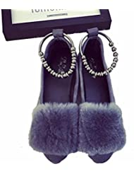 DM&Y 2017 Versi¨®n coreana de la coloraci¨®n pura conejo zapatos de la boca plana zapatos de los guisantes banquete de felpa se?al¨® los zapatos . grey . 38