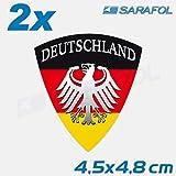 2x Allemagne Autocollant Emblème (Nr.114) Drapeau Allemand German Deutschland Autocollants 4,5 x 4,8 cm