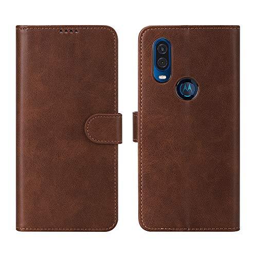 CRESEE Hülle für Motorola One Vision, Leder Tasche mit Kartenfächer, Magnetverschluss Schutzhülle Flip Cover Case Standfunktion Stoßfest Brieftasche für Moto One Vision (Braun)