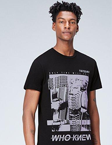 FIND T-Shirt Herren mit Print und Rundem Ausschnitt Schwarz (Black)