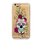 Coque Iphone 6 6S Tete Mort Mexicaine Fleur Calavera Tatoo Transparent