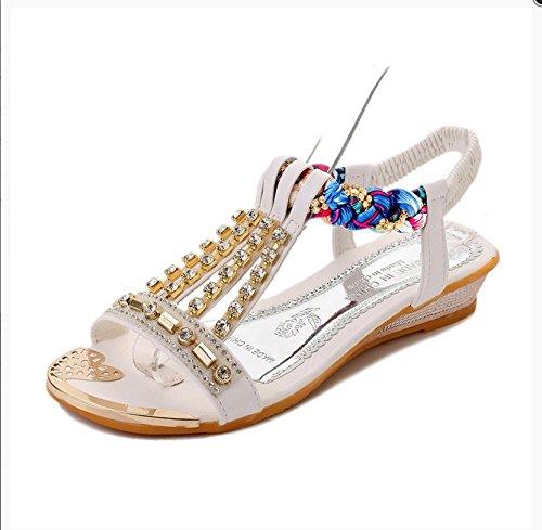 RUGAI-UE Studenti donne sandali piatto scarpe scarpe di Diamante pendenza di slittamento Golden