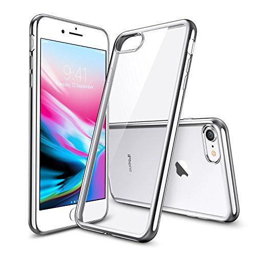 ESR Klar Weiche TPU Schutzhülle Kompatibel mit iPhone 8 Hülle,iPhone 7 Hülle,Transparent Durchsichtig [Ultra Dünn] mit Farbrahmen für iPhone 8/7 [4.7 Zoll] 2017 (Silber)