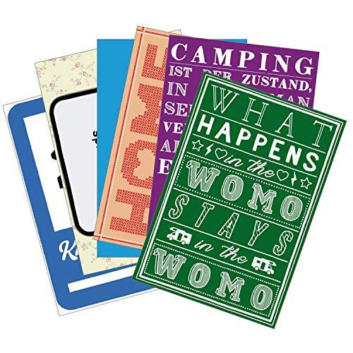 Wenn Nicht Jetzt Postkarten-Set »Wohnmobil-Glück« | 6 XXL-Postkarten (12 x 17,5 cm) | mit Motiven und Sprüchen zum Thema Camping - als Deko im Camper oder Geschenk