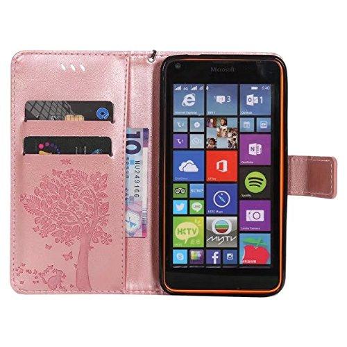 Nokia Lumia N640 Case, Embossing gepresst Blumen Katze und Baum Muster Solid Color PU-Leder Tasche weichen Silikon-Cover Flip-Stand Geldbörse mit Lanyard Tasche für Nokia N640 ( Color : 11 , Size : No 13