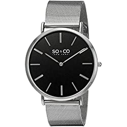 So & Co New York Madison Men's Quartz Watch with Black Dial Analogue Display and Silver Stainless Steel Bracelet