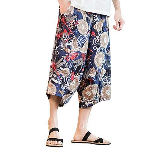 Hehgek Herren-Hose, Übergröße, Retro-Stil, Broken-Blumen-Hose, sehr locker geschnitten, mit Taschen Gr. one Size, blau -