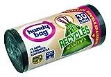 Handy Bag  rouleau de 15 Sacs Poubelle 30 L, Poignées Coulissantes, Recyclés, Résistant, Anti-Fuites, 55 x 63 cm, Vert Foncé, Opaque