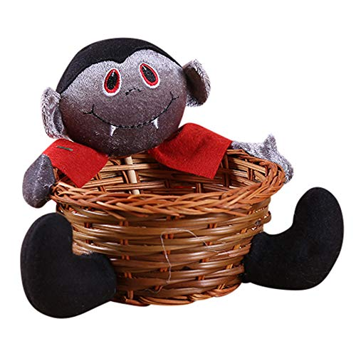 Spielzeug -Artistic9 Halloween Candy Bowl Schwarze Katze Kürbis Hexe Geist Dämon Form Bambus Candy Basket Halloween Süßes oder Saures Goody Container Spooky Holiday Party - Spooky Doll Kostüm