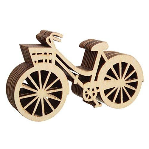 REFURBISHHOUSE Holz Fahrrad Form Verzierungen Handwerk Weihnachtsbaum haengen Anhaenger Tags Xmas Ornament Fuer Kunst DIY Handwerk Scrapbooking 10pcs (Ornament Diy Christmas)