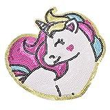 YNuth Parche de Lentejuelas Termoadhesivo del Diseño de Unicornio y Corazón para Decoración de Ropa