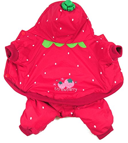 Kostüm Hunde Teacup Größe - Pegasus Strawberry Hund Kostüm Haustier Kostüm Hundemantel mit Kapuze Jumpsuit Hunde kleiner Hund Kleidung