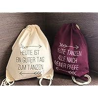 Set aus 10 Turnbeutel JGA Rucksack für Junggesellenabschied; 1 Brautbeutel und 9 Beutel für die Mädels, beige/weinrot
