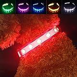 LED Hunde Sicherheits Halsband Hundehalsband, Pawow USB wiederaufladbare Mehrfarbig Blinkende Leuchtendes Adjustment Hundeleine für Hunde