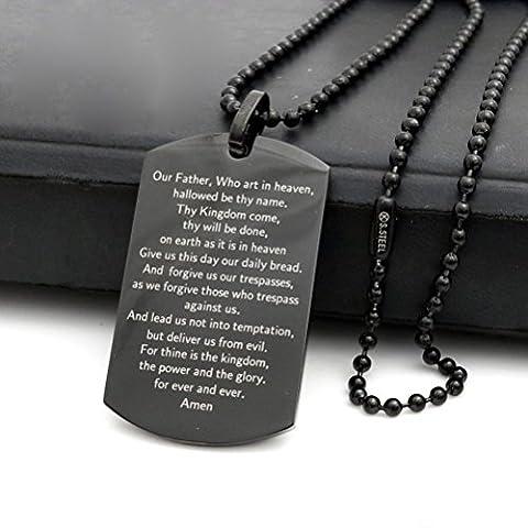 Sandra Design 61cm Herren Edelstahl 2,5mm Schwarz Perlen Kette Bibel Vers Hund Tag Anhänger