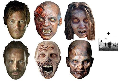 The Walking Dead Zombies, Daryl Dixon und Rick Grimes Karte Partei Gesichtsmasken (Maske) Packung von 6 - Enthält 6X4 (15X10Cm) - Rick Grimes Kostüm Kind