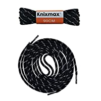 Knixmax Strong Round/Flat Shoe Laces for Walking Boots Hiking Shoes Trainers Sneakers Shoelaces Multiple Colours & Lengths