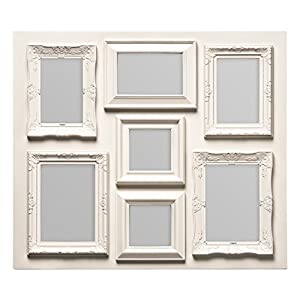 Premier Housewares Multi-Photo Frame for 3 Rectangular Photos of 4 x 6-Inch/2 Rectangular Photos of 5 x 7-Inch/2 Square Photos of 4 x 4-Inch Size, Cream