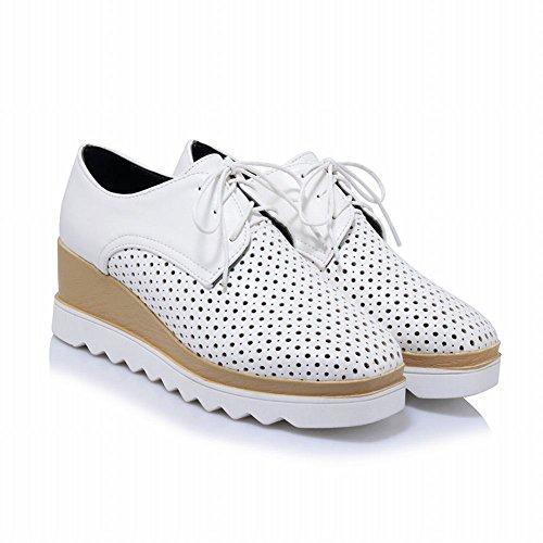 MissSaSa Femmes Chaussures Plateforme perméables à l'air Fermeture Lacets Blanc