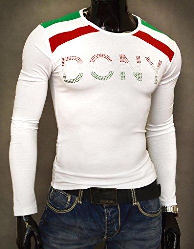 D&R Fashion Männer T-Shirt Top Slim Fit Gelegenheits Clubbing Pailletten Party Schwarz Weiß Weiß