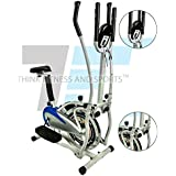 Think Fitness And Sports Home And Gym Workout 4 In 1 Orbitrek With Seat And Pulse Handle (Blue And Silver)